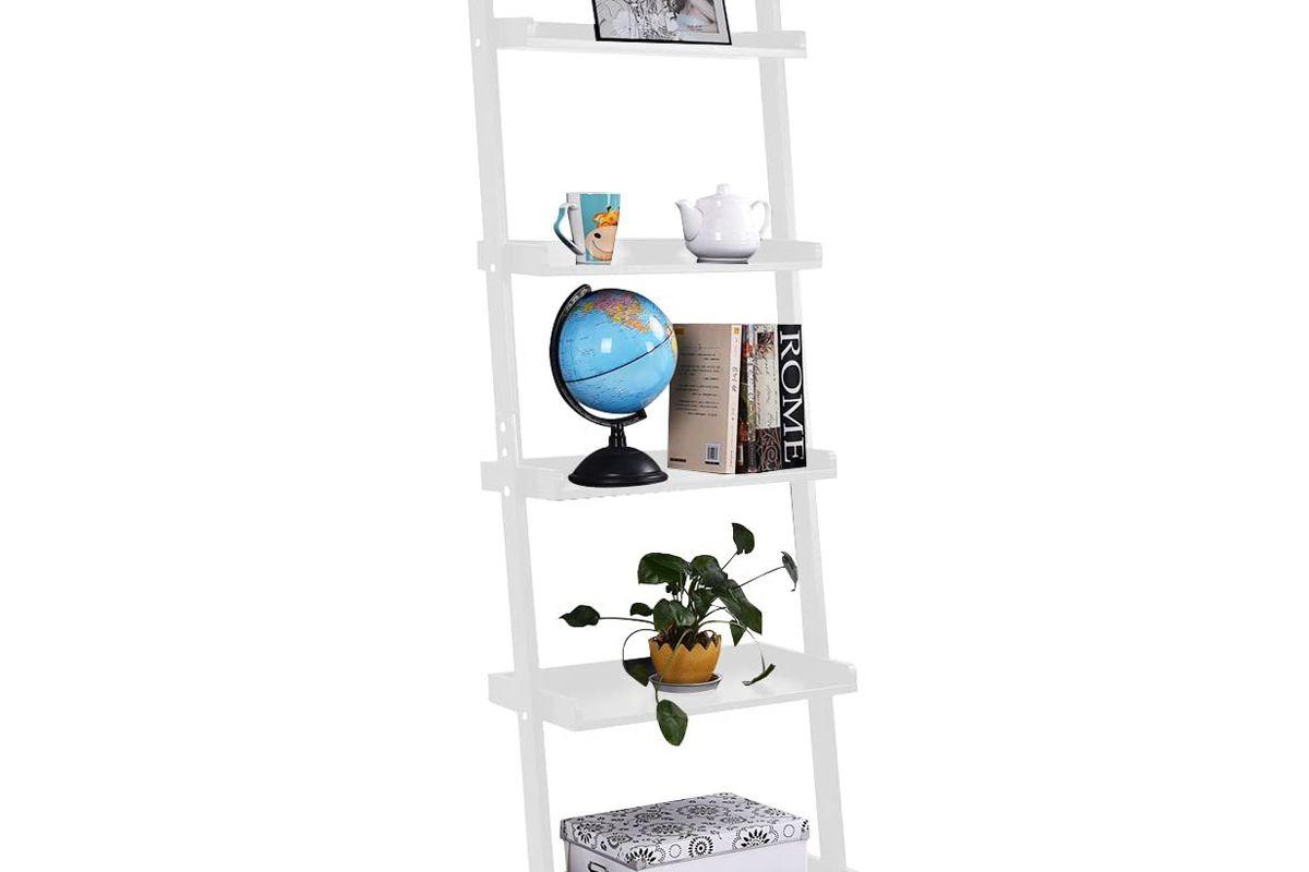 tangkula 5-tier wood leaning shelf