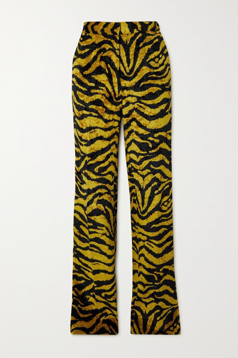 the attico tiger print velvet flared pants