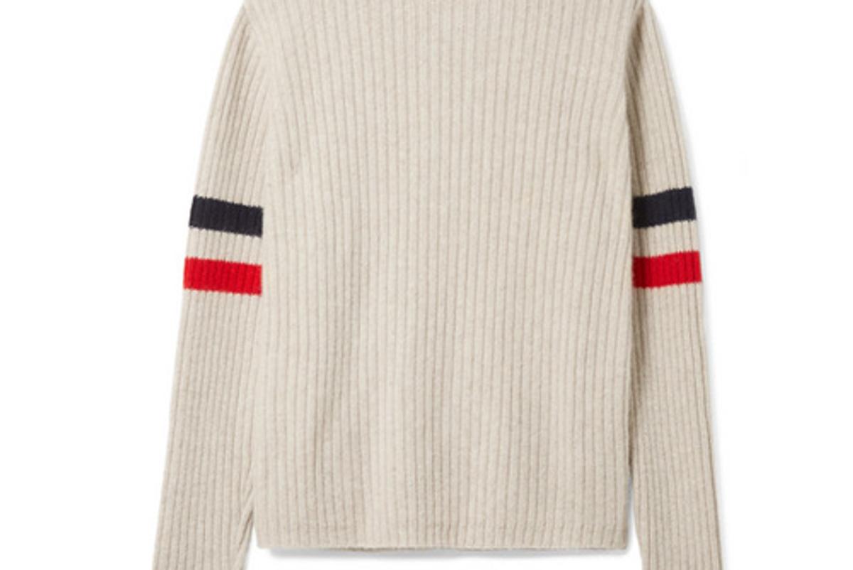 the elder statesman odyssey striped ribbed cashmere turtleneck sweater