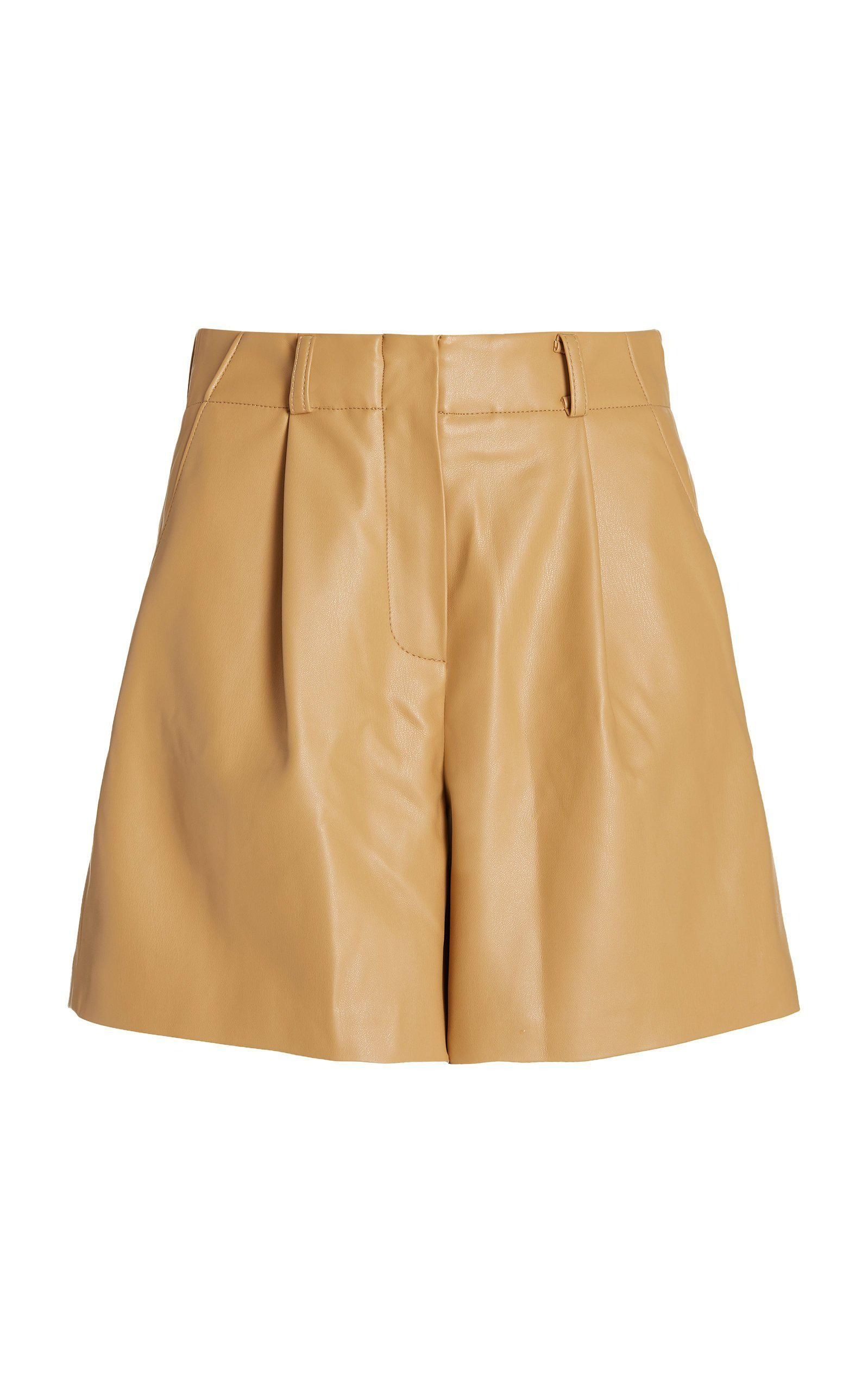 the frankie shop manon pleated vegan leather shorts