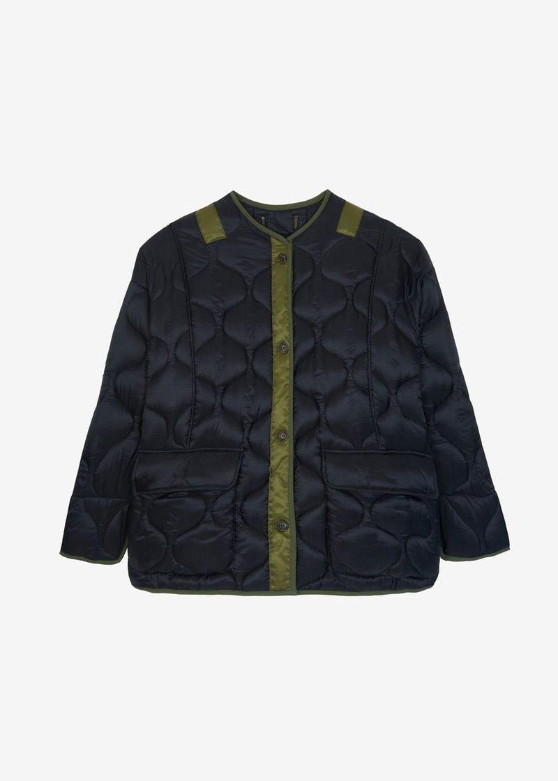 the frankie shop teddy quilted jacket black olive