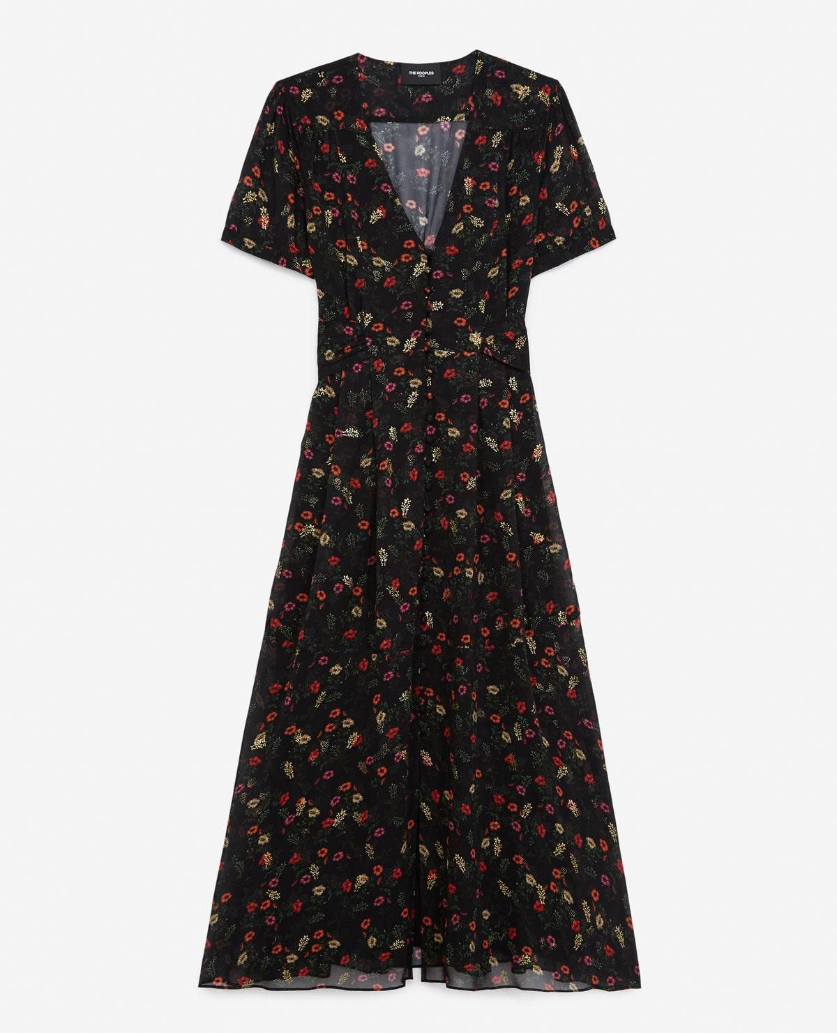 the kooples long printed dress with belted waist