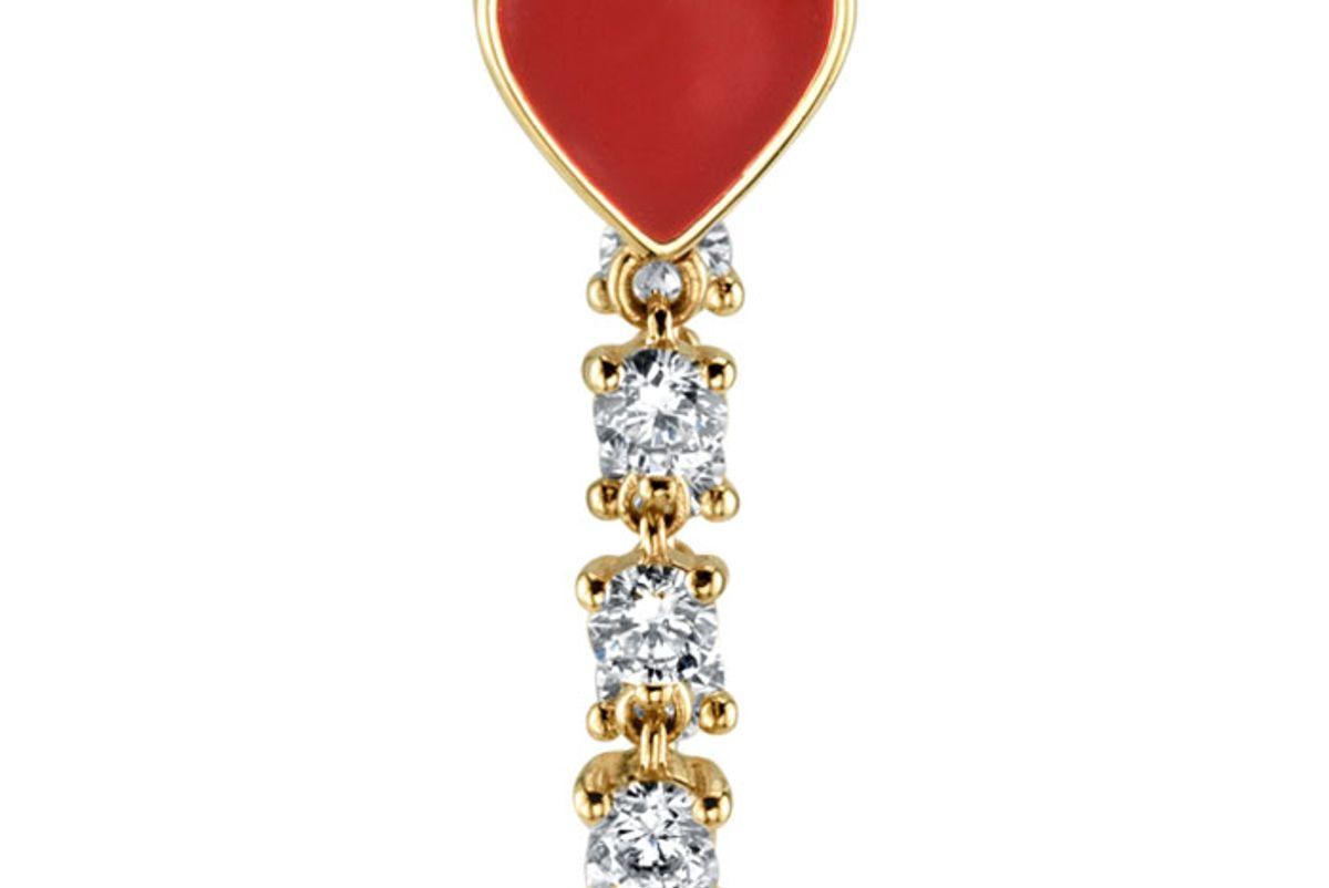 the last line diamond and red enamel heart earring