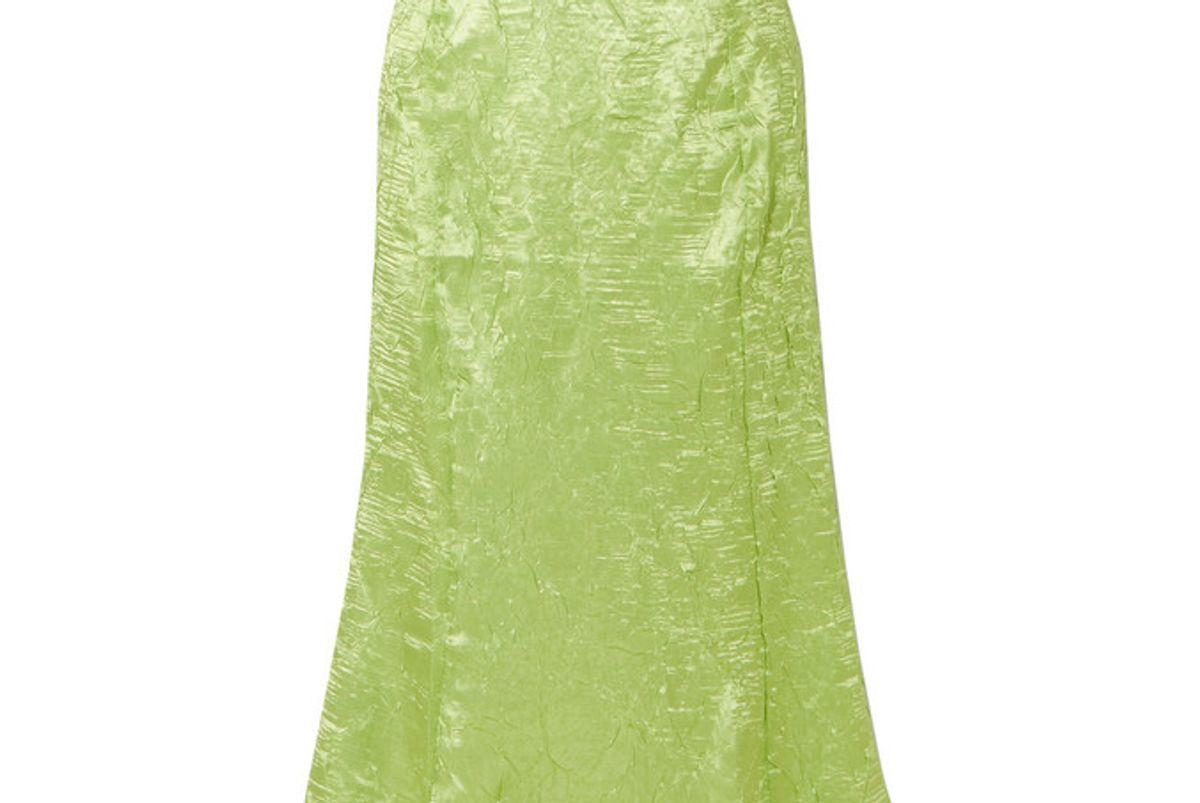 the line by k grace crinkled satin midi skirt