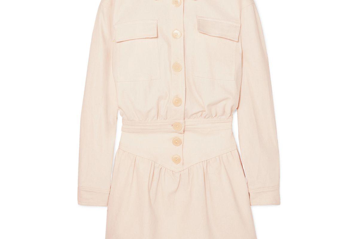 the line by k theo stretch cotton twill mini dress