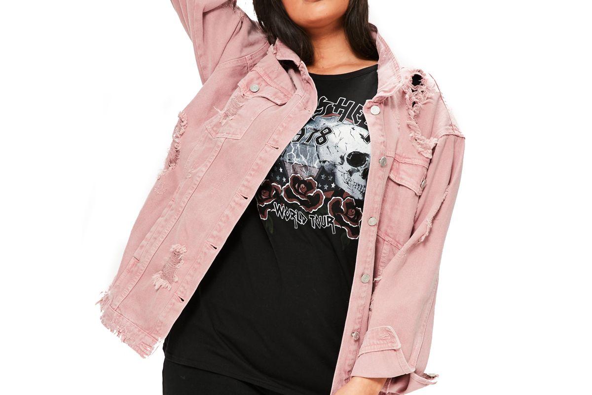 Curve Pink Distressed Denim Jacket