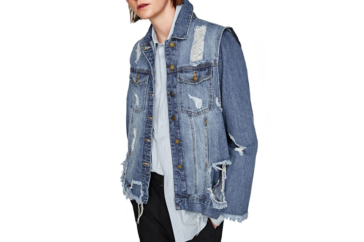 Ripped Denim Waistcoat Jacket