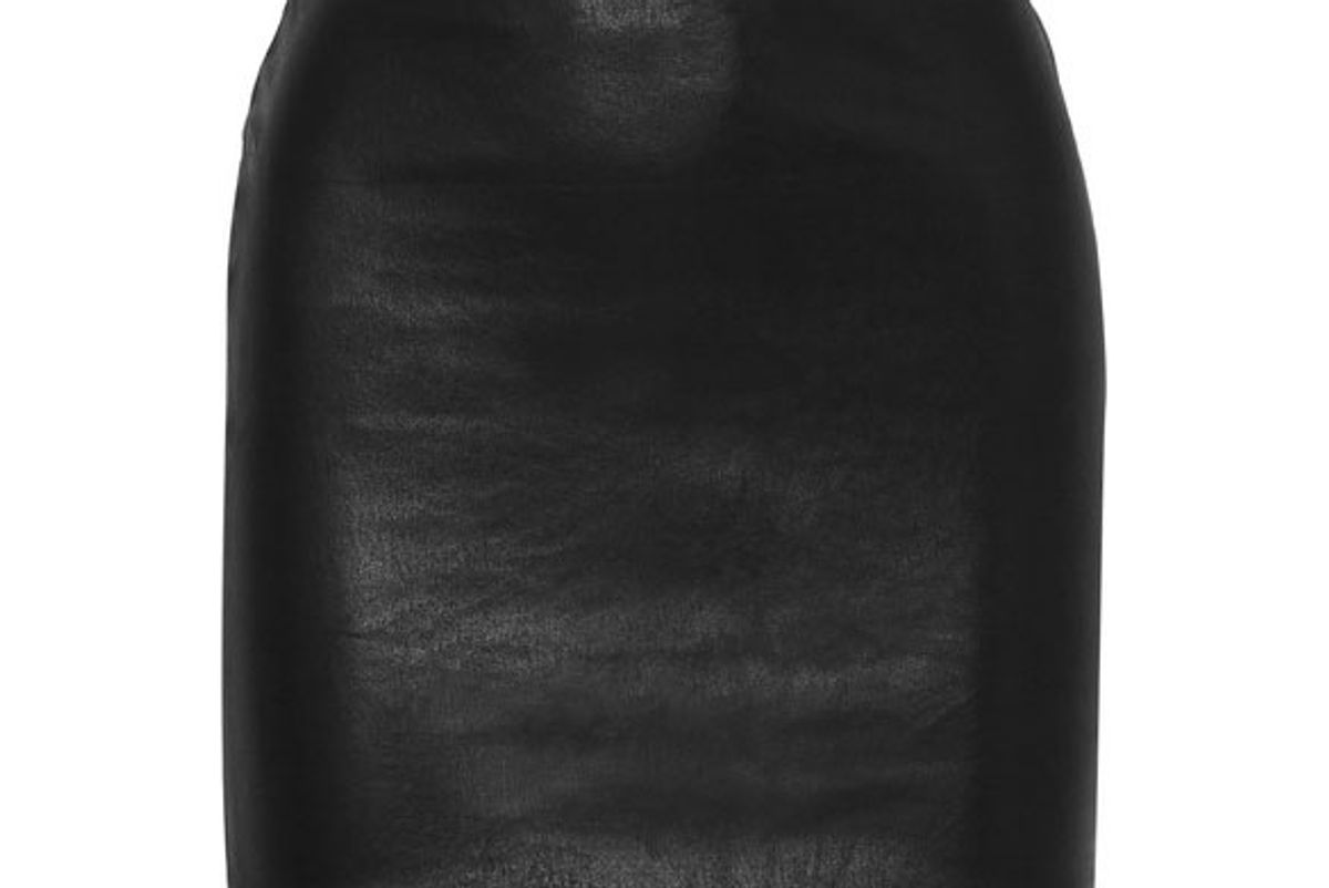 the row loattan stretch leather mini skirt