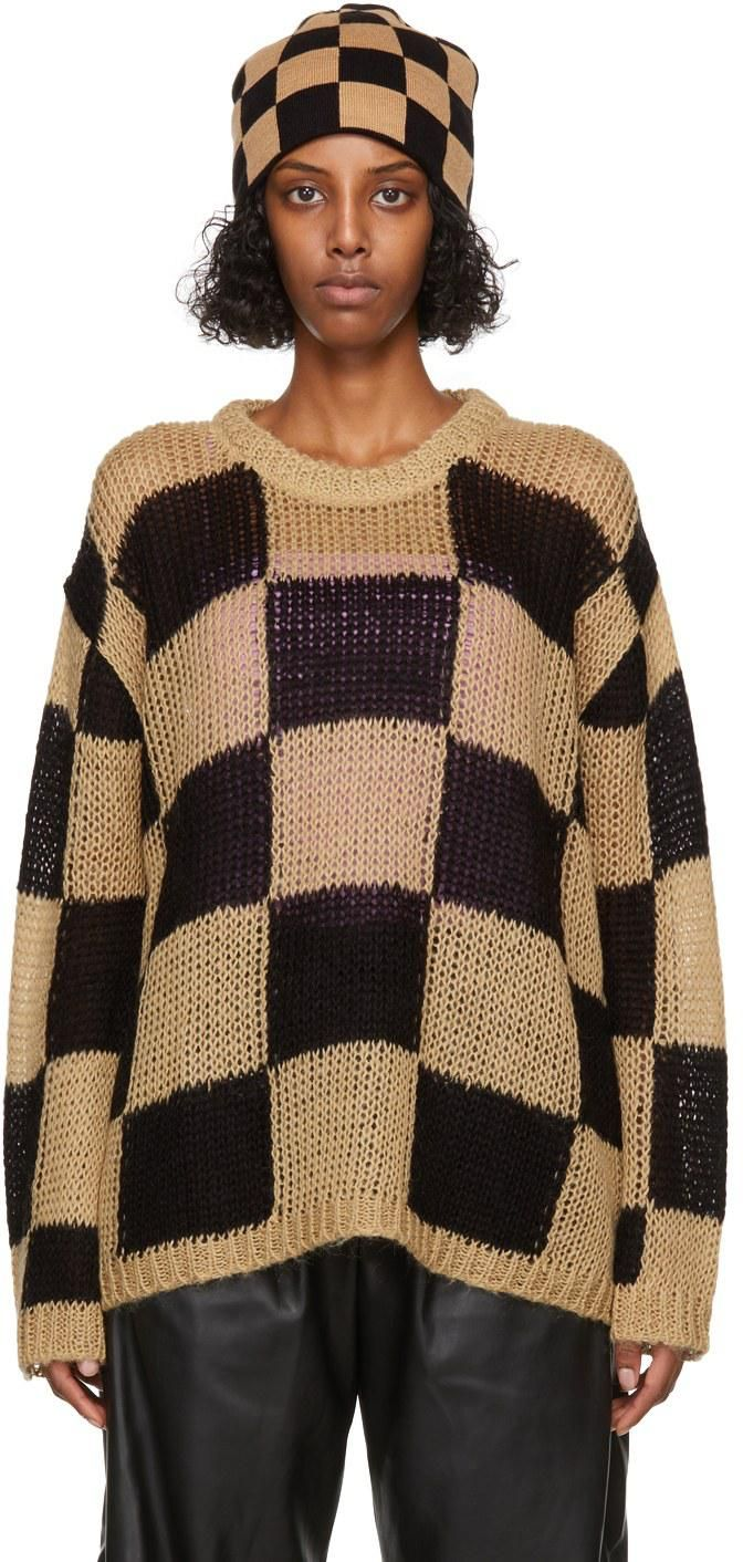theopen product beige and black chessboard check sweater