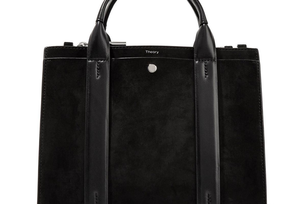 theory west mini leather trimmed suede tote