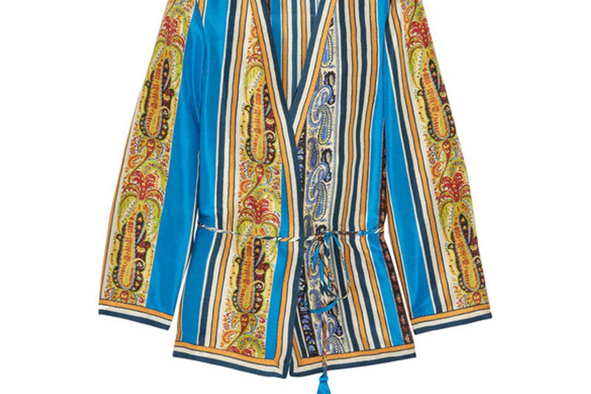 Printed Silk-Satin Wrap Jacket