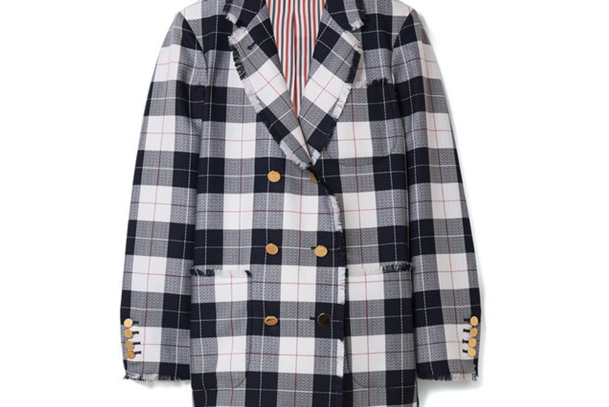 thom browne double breasted checked wool blend blazer