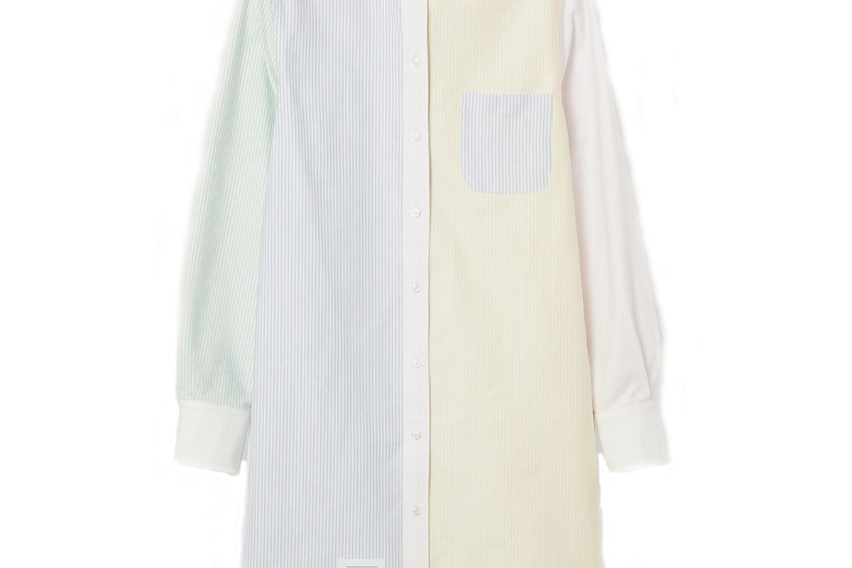 thom browne patchwork striped cotton oxford dress