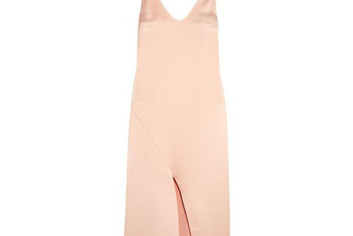 tibi draped satin slip dress