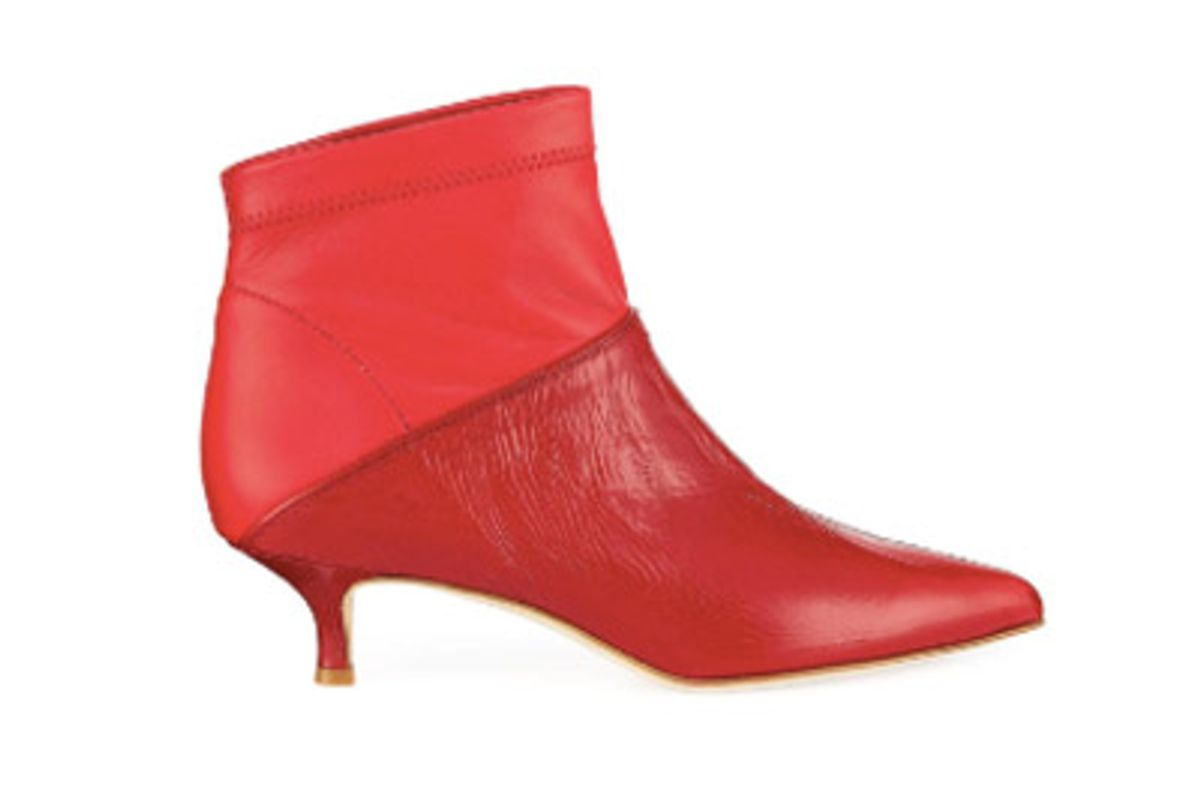 tibi jena ankle boot in textured red
