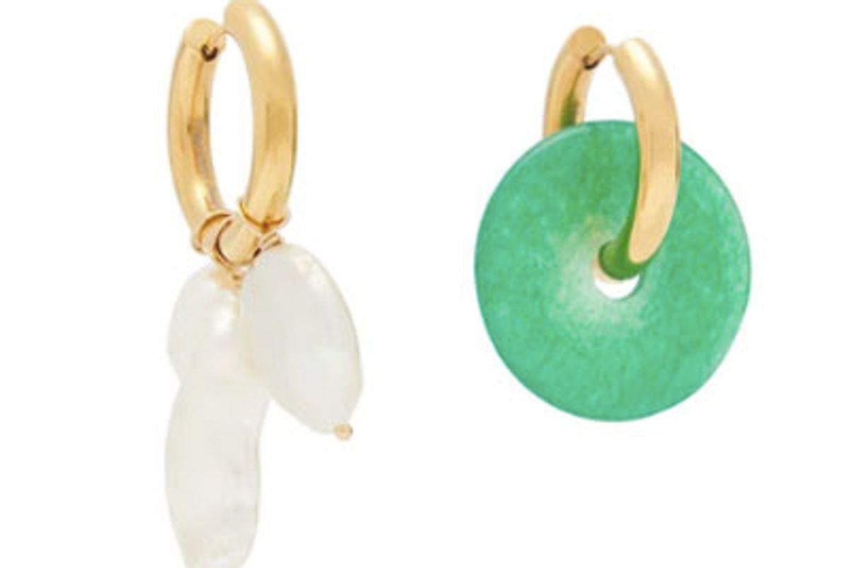 timeless pearly mismatched pearl and jade earrings