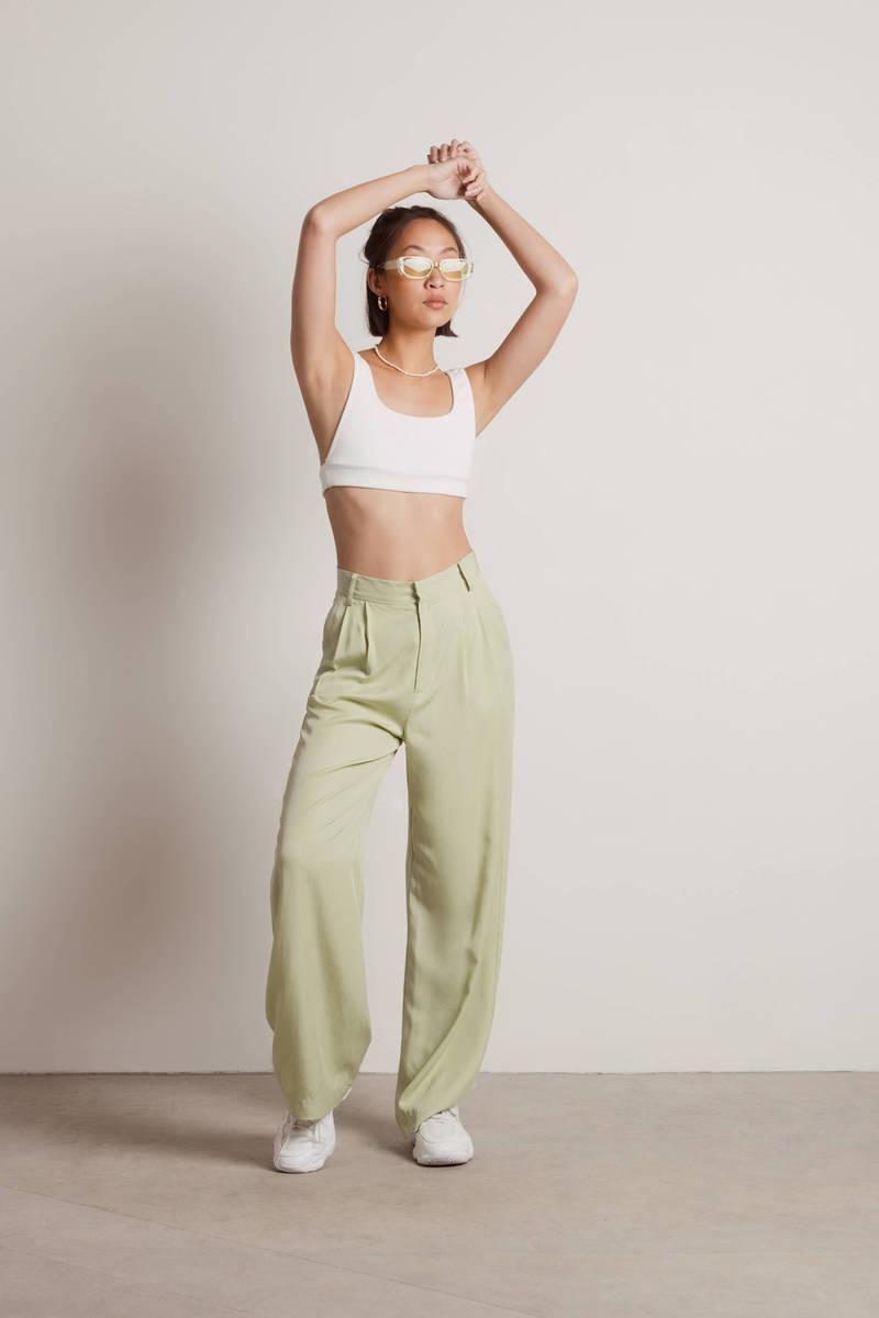 tobi clyde high waist wide leg trouser pants in green