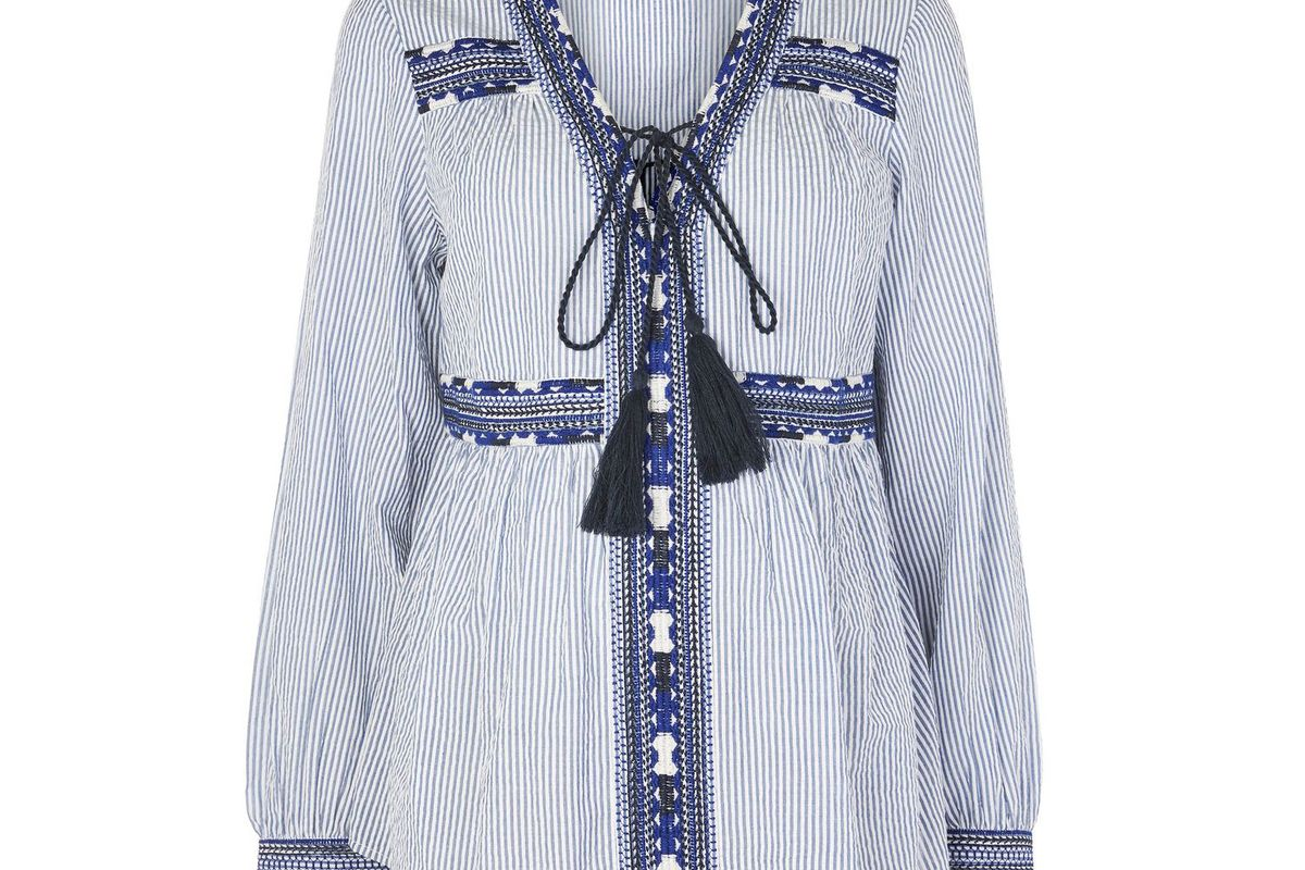 Maternity Stripe Embroidered Smock Top