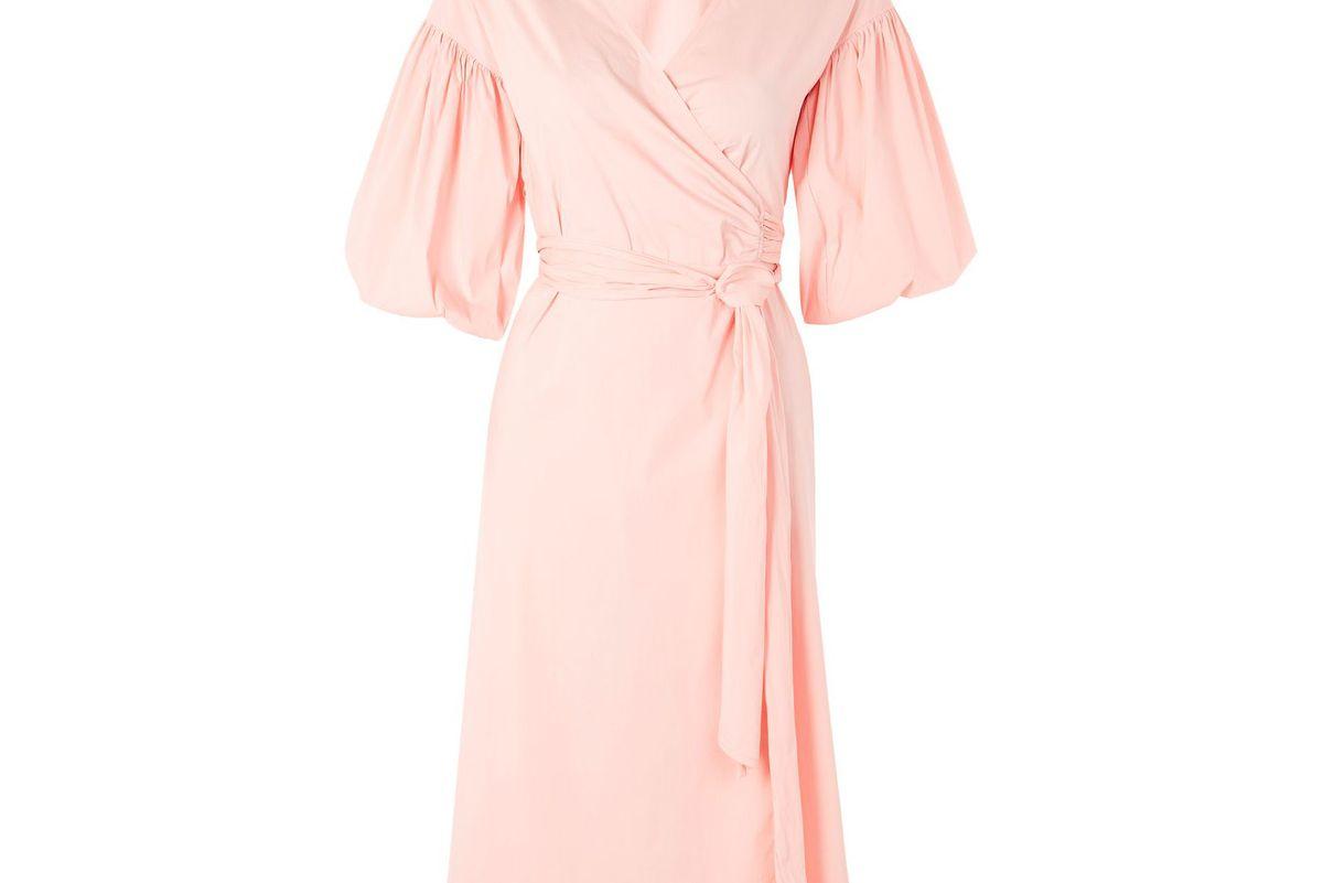 Balloon Sleeve Wrap Midi Dress