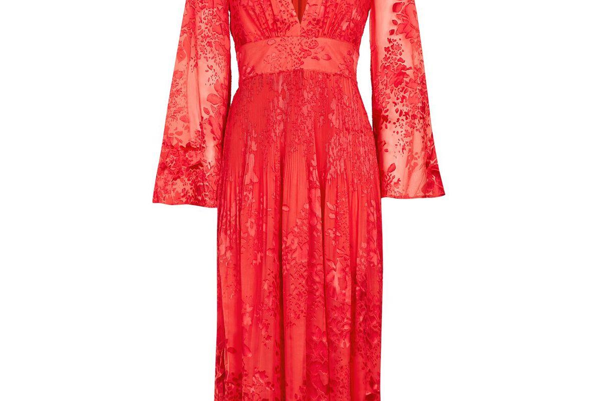 Long Sleeve Burnout Midi Dress