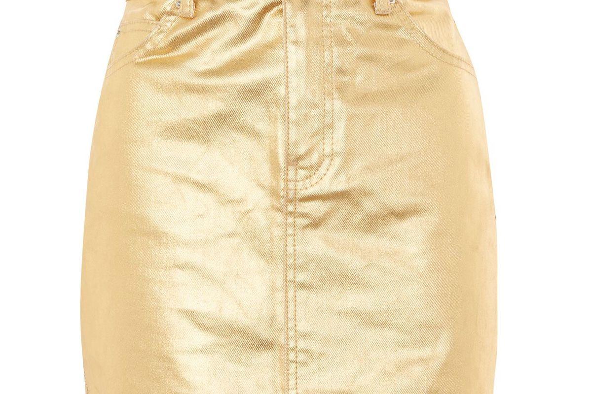 Moto Gold Denim Skirt