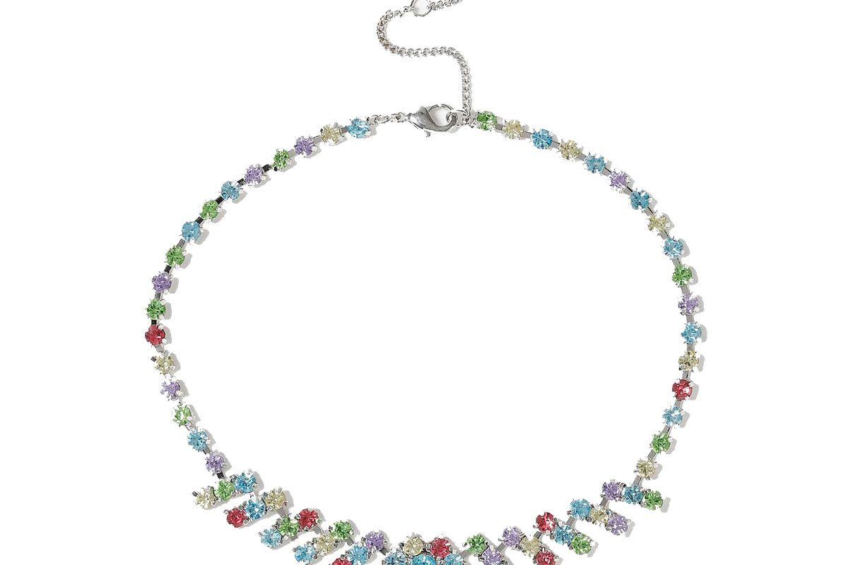 Rainbow Zig Zag Choker Necklace