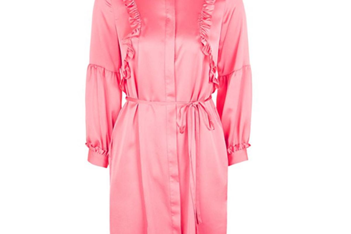 Satin Ruffle Shirt Dress