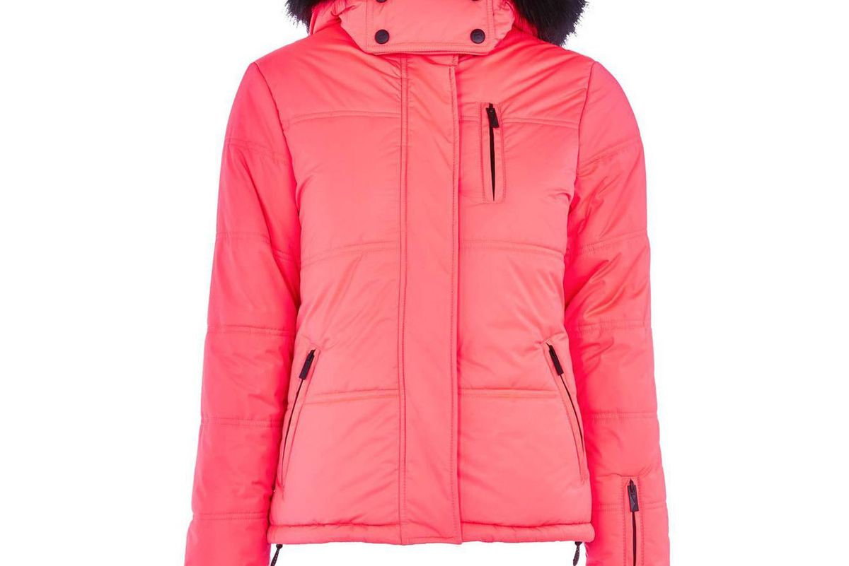 topshop sno rio faux fur hooded neon puffer jacket