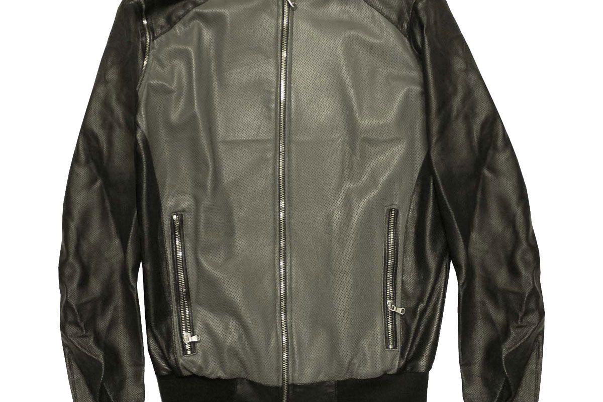 Leather Perforated Varsity Jacket