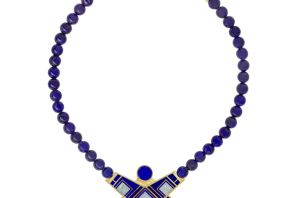 tracey designes lapis lazuli beads gold and enamel necklace