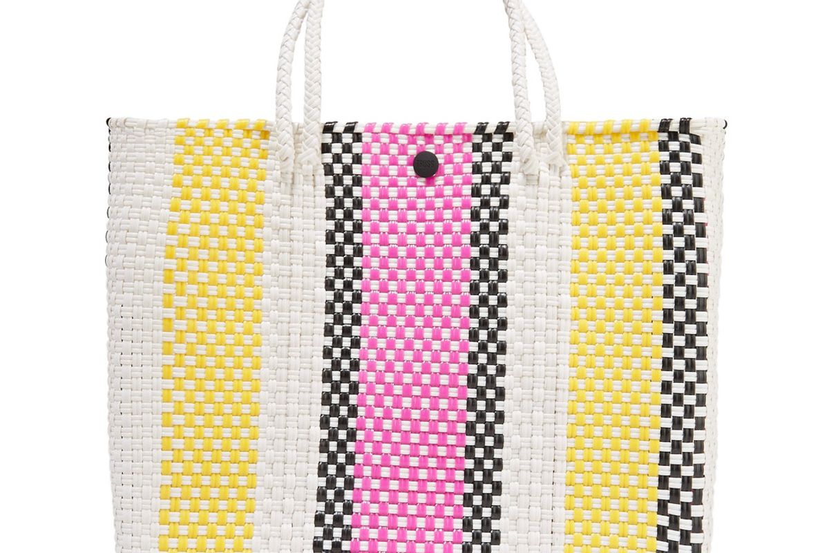 Striped Leather-Trimmed Woven Raffia-Effect Tote