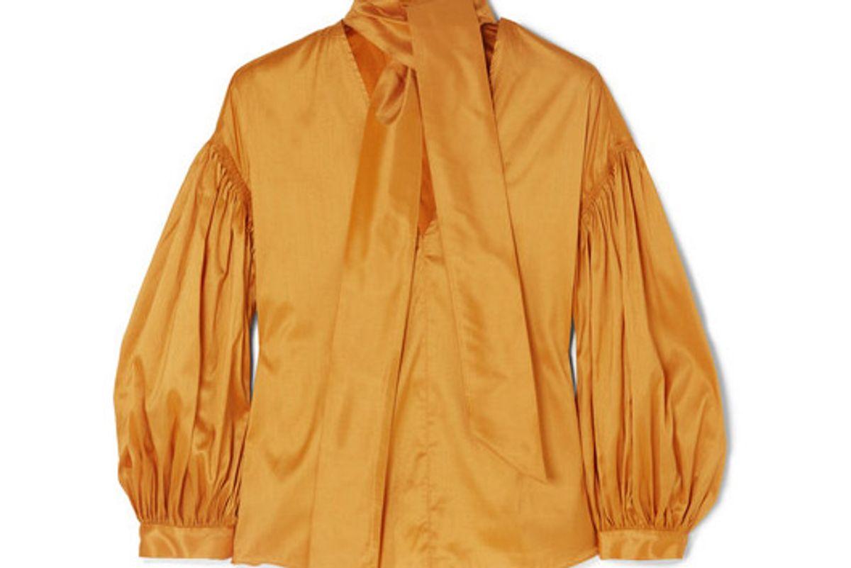 ulla johnson dorsa tie neck taffeta blouse