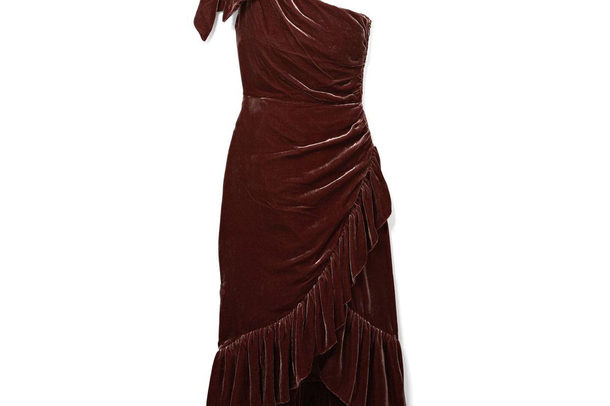 ulla johnson elisa one shoulder ruffled velvet dress