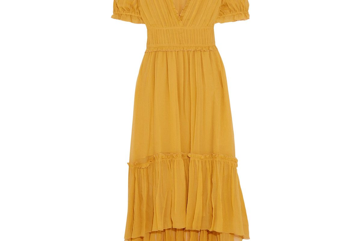 Sonja Ruffled Crinkled Silk-Chiffon Dress