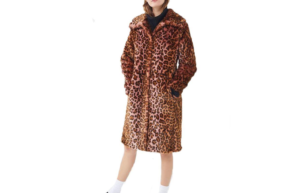 uo avec les filles leopard print faux fur car coat