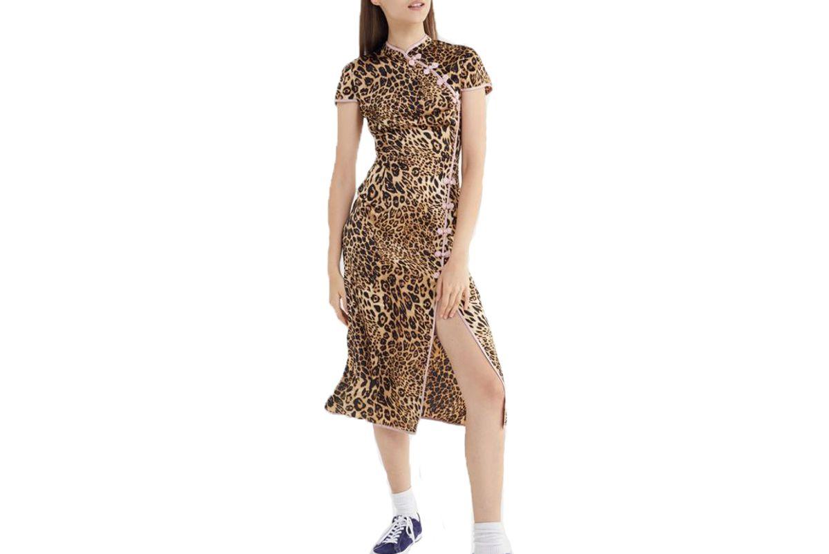uo leopard print mock neck midi dress