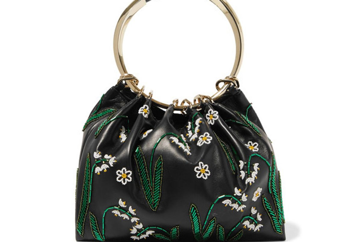 Bead-embellished Leather Tote