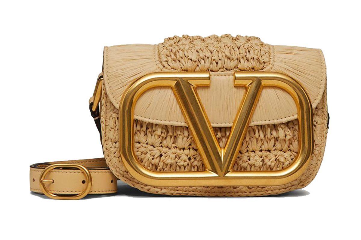 valentino garavani small supervee raffia crossbody bag