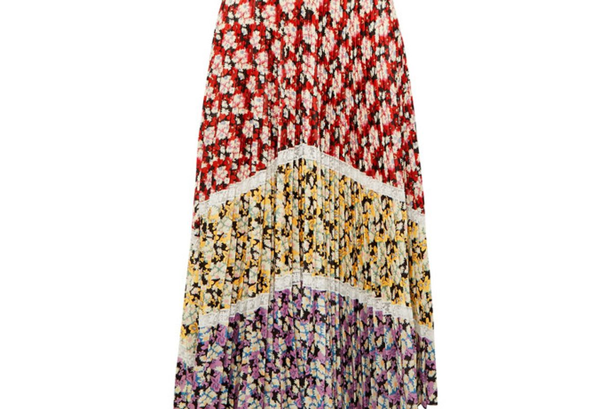 valentino lace trimmed pleated floral print crepe midi skirt