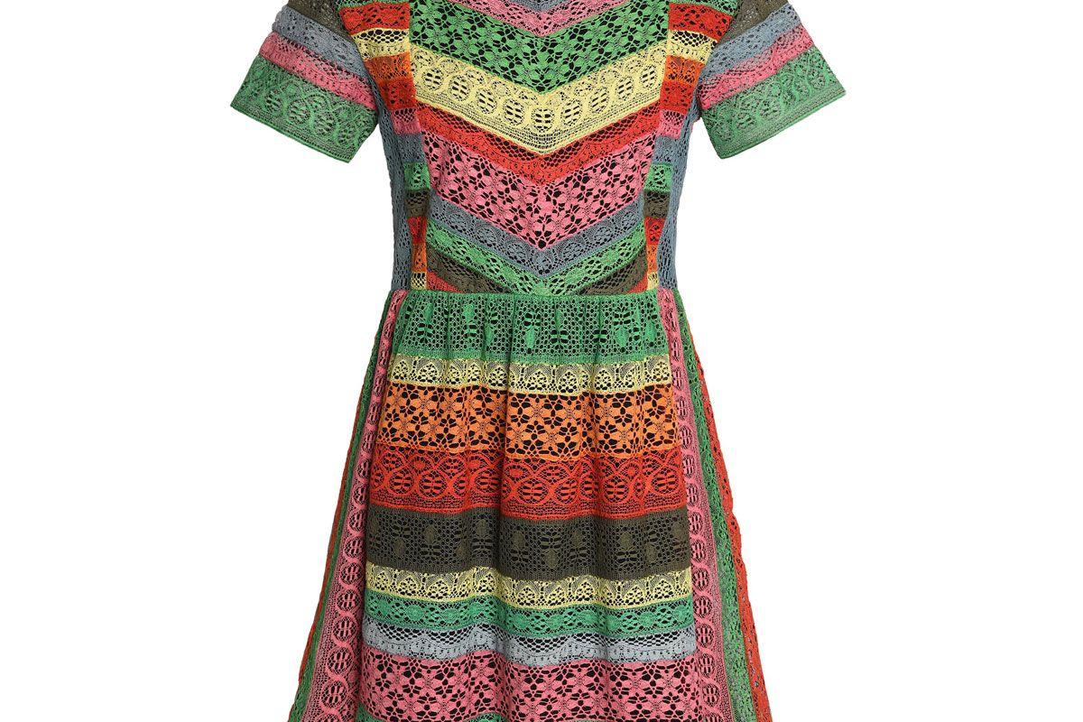 valentino paneled striped lace mini dress