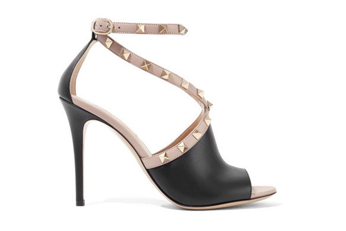 valentino valentino garavani the rockstud two tone leather sandals