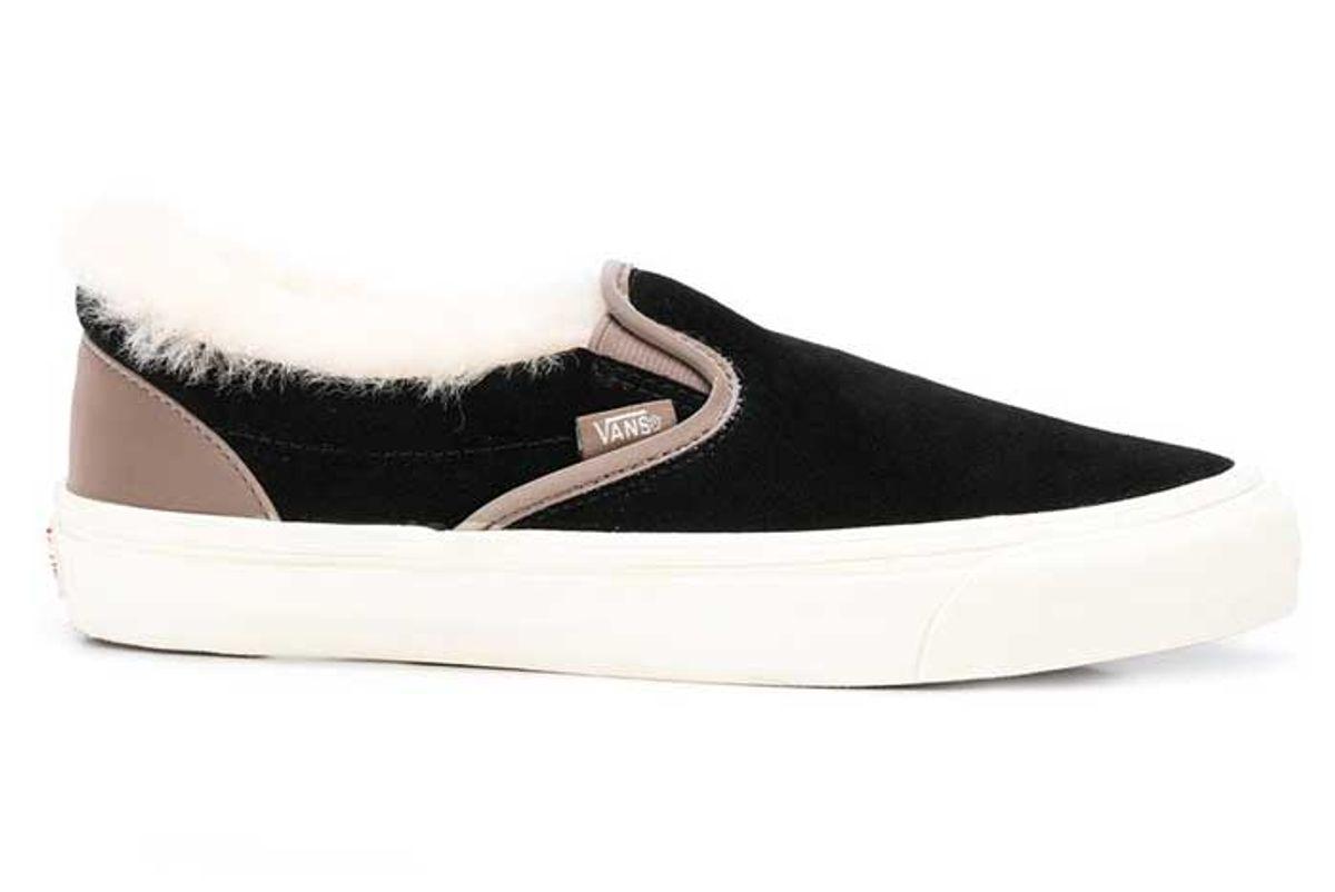 vans shearling trim slip on sneakers