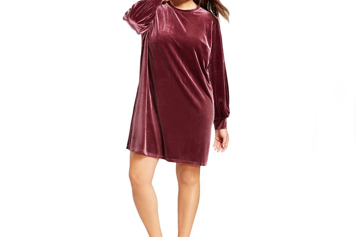 Women's Plus Size Velvet Mini Dress