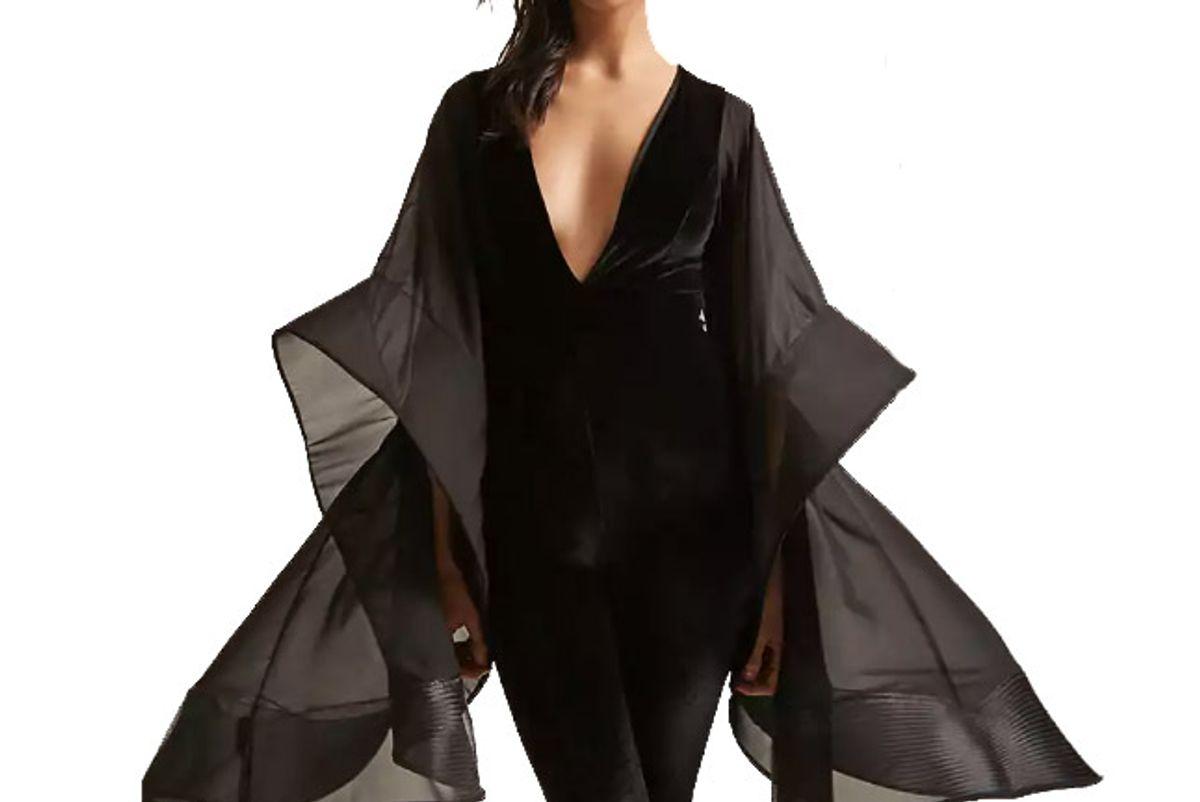 Velvet Sheer Bell-Sleeve Jumpsuit