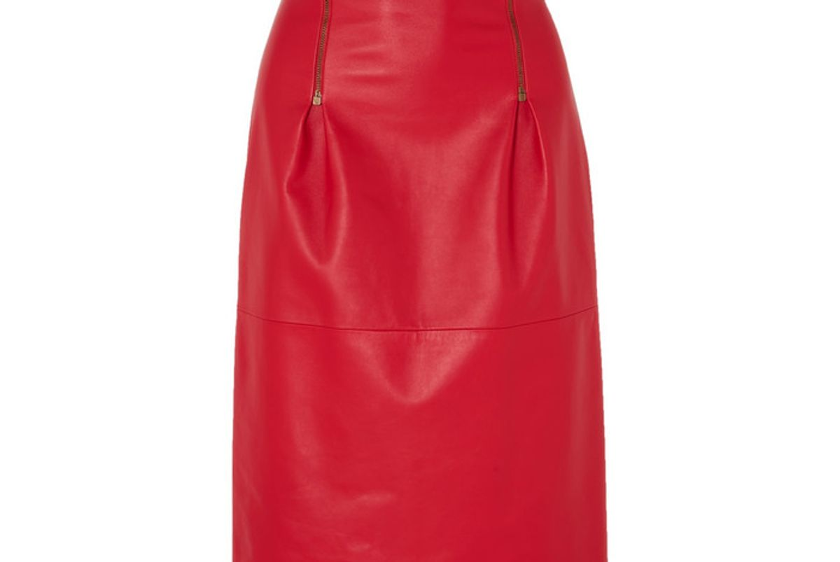 versace zip detailed leather skirt