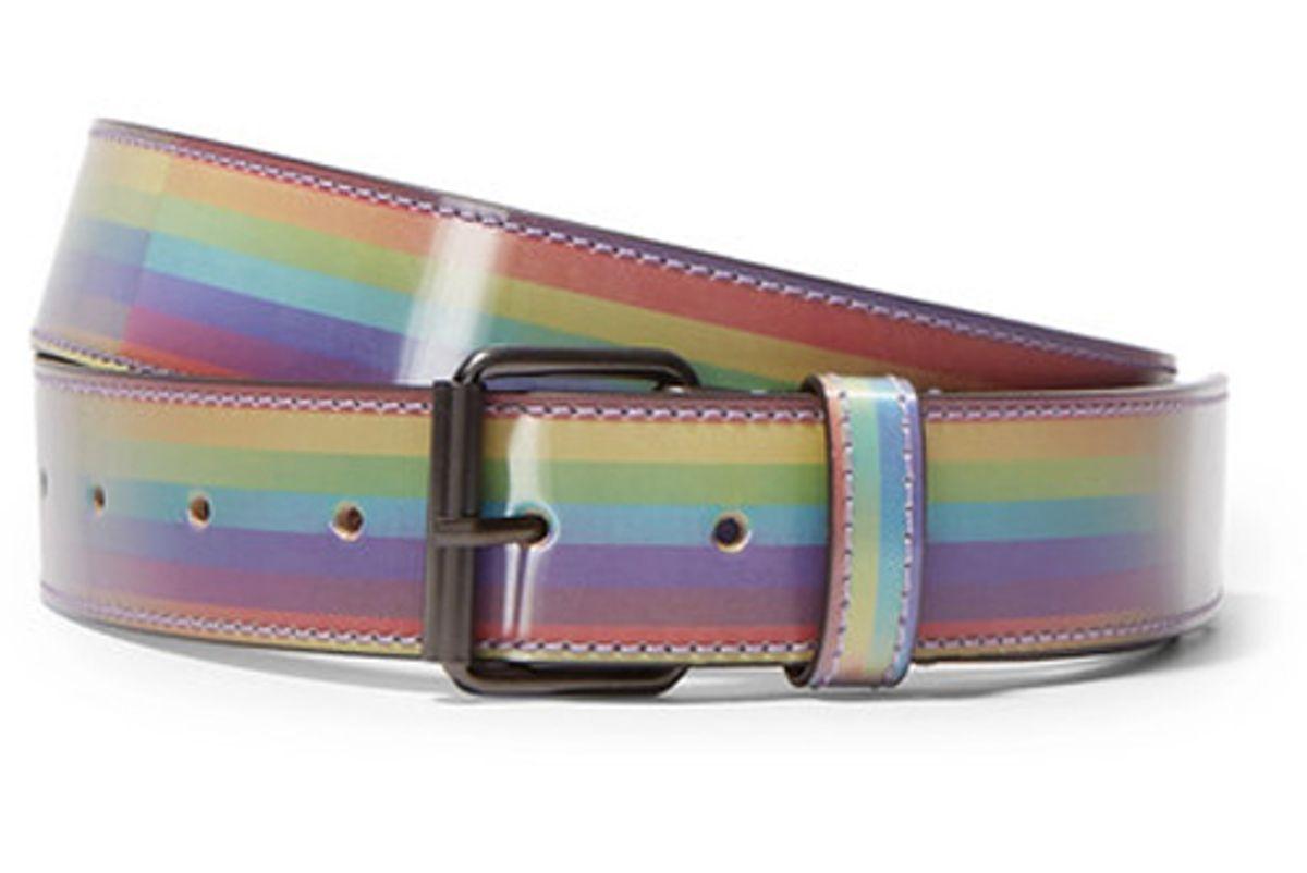 vetements printed glossed leather belt