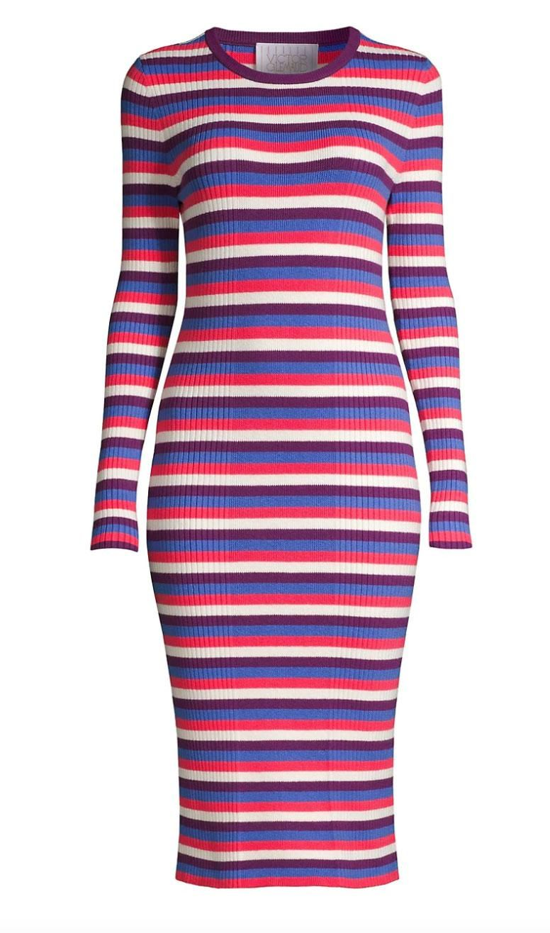 victor glemaud striped long sleeve ribbed dress