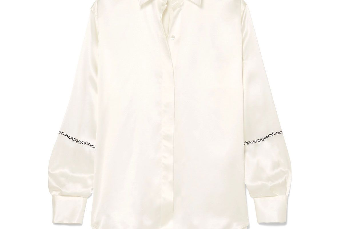 victoria beckham printed silk satin shirt