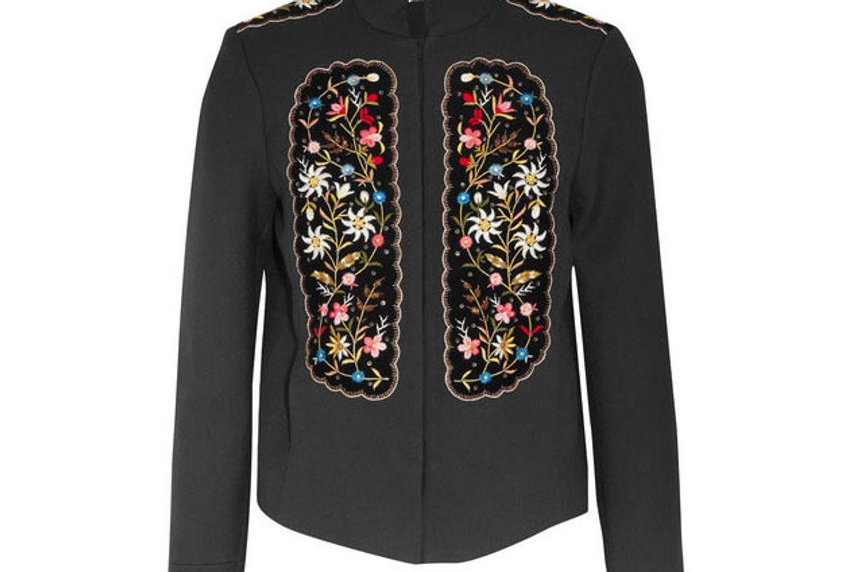 vilshenko misha embroidered velvet-paneled gabardine jacket