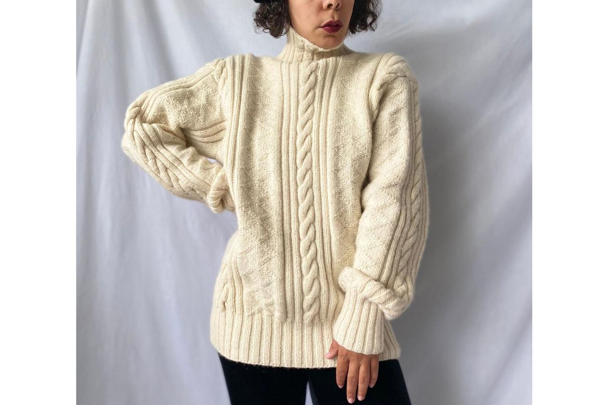 vintage polo ralph lauren ivory hand knit cable knit sweater